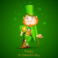 Illustration leprechaun walking stick saint patrick s day Royalty Free Stock Photography