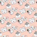Illustration of letters and envelopes. Romantic messages. Seamless pattern.