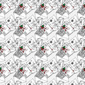 Illustration of letters and envelopes. Seamless pattern. Royalty Free Stock Photo