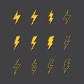 Illustration of lightning icon set vector Royalty Free Stock Photos
