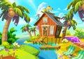 Illustration: Little Cabin on the Island.