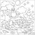 Illustration of little sleeping bear for coloring. Black and white worksheet for children.