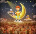 Illustration of little young ginger boy reading a book on moon Royalty Free Stock Photo
