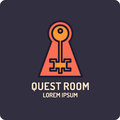 Illustration of lock and key. Real-life room escape and quest game logo