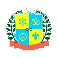 Illustration - coat of arms in the style of flat design on the theme of mysticism and esotericism