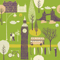 Illustration of londoner themes with landmarks and daily life Stock Photography