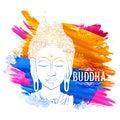 Lord Buddha in meditation for Buddhist festival of Happy Buddha Purnima Vesak Royalty Free Stock Photo