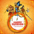 Lord Rama with Laxmana and Hanuman in Dussehra Navratri festival of India poster