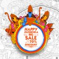 Lord Rama, Laxmana and Sita Lord Rama in Navratri festival of India for Happy Dussehra Sale Promotion offer