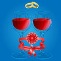 Illustration of love relationships colorful with glasses wine and wedding rings Royalty Free Stock Image