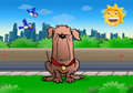 Illustration loyal brown scary guard dog sit park Stock Photo