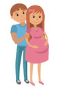 Illustration of man with pregnant woman couple hugging vector in flat style couple picture on white background Stock Image