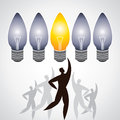 Illustration of man surround with idea bulbs Royalty Free Stock Photography