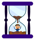 Illustration man who trapped inside hourglass Stock Photos