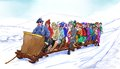 Illustration of many men and women going for a ride on a sled Stock Photography