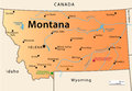 Illustration of the map of the great state of montana usa featuring its main cities rivers lakes and the highest peak of the state Stock Photo