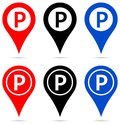Map pointer with parking sign icons Royalty Free Stock Photo