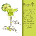 Illustration with margarita cocktail hand drawn Royalty Free Stock Images