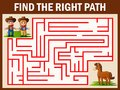 Maze game finds the cowboy and cowgirl way get to horse Royalty Free Stock Photo