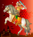 Illustration of  medieval knight riding on horse. Royalty Free Stock Photo