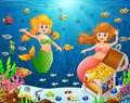 Illustration of a mermaid under sea Royalty Free Stock Photo