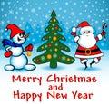 Merry Christmas card with snowman, Christmas tree and Santa