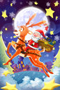 Illustration: Merry Christmas and Happy New Year! The Happy Santa Claus and his Deer Set Off To Send You Gifts!