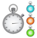 Illustration metal framed stop watch marked time intervals Stock Photo