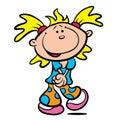 Illustration mignonne de dessin animé de petite fille Image stock