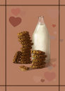 Illustration of milk and cookies - the best sweet, tasty breakfast combination Royalty Free Stock Photo