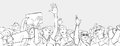 Illustration of mixed ethnic crowd cheering with raised hands at music festival