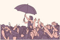 Illustration of mixed ethnic festival crowd partying in the rain
