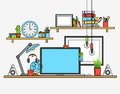 Illustration of modern workplace. Creative office workspace with map. Flat minimalistic style design