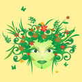 Illustration of mother nature face with flowers and butterflies Royalty Free Stock Photo