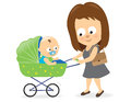 Illustration mother pushing baby carriage Stock Photo