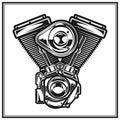Illustration of motorcycle engine. Royalty Free Stock Photo