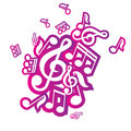 Illustration of musical notes vector Stock Photography