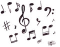 Illustration of musical symbols, treble clef and notes