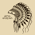 Illustration with native american indian chief headdress vintage Stock Photos