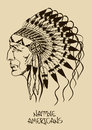 Illustration with native american indian chief vintage hand drawn Royalty Free Stock Image