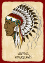 Illustration with native american indian chief vintage hand drawn Stock Photo