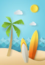 Illustration of nature landscape and concept of summer time, surf board and sea or ocean. Design by origami paper art