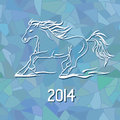 Illustration with new year symbol of horse on blue frost mosaic patterned background Stock Photo