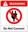 Illustration of a not allowed icon with a plug Royalty Free Stock Photo
