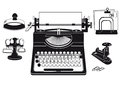 An illustration of office supplies and a typewriter Stock Photography