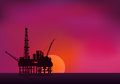 Illustration of oil platform on sea and sunset in background ve vector Royalty Free Stock Images