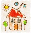 Illustration old hand drawn child drawing doodle house Stock Photos