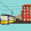 Illustration old high street public transport tourism shopping background Royalty Free Stock Photos