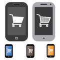 Illustration of online shopping using mobile/cell phone Stock Photo