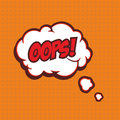 Illustration of a Oops in comic stile, on cloud